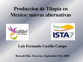 Produccion de Tilapia en Mexico: nuevas alternativas