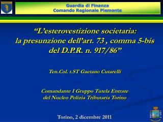 """"""" L'esterovestizione societaria:  la presunzione dell'art. 73 , comma 5-bis"""