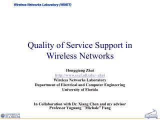Quality of Service Support in Wireless Networks