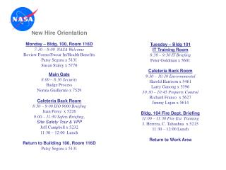 New Hire Orientation  Monday   Bldg. 100, Room 116D 7:30   8:00  NASA Welcome Review Forms
