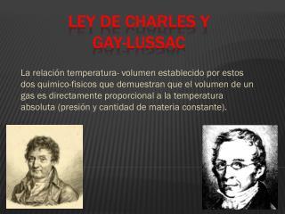 Ley de Charles y               Gay-Lussac