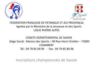 Inscriptions championnats de Savoie