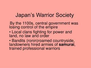 Japan's Warrior Society