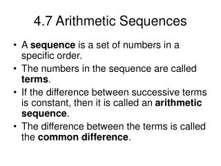 4.7 Arithmetic Sequences