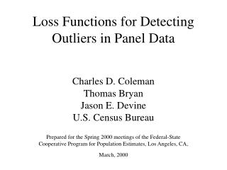 Loss Functions for Detecting Outliers in Panel Data