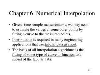Chapter 6  Numerical Interpolation