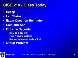 CISC 210 - Class Today