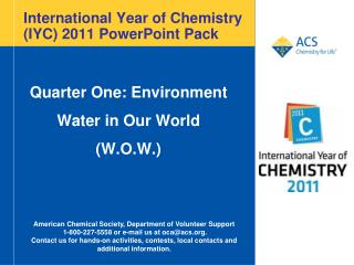 International Year of Chemistry (IYC) 2011 PowerPoint Pack
