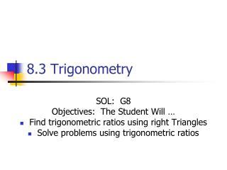 8.3 Trigonometry