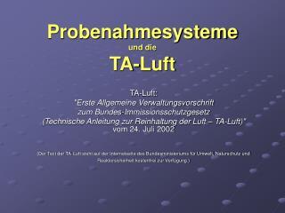 Probenahmesysteme  und die  TA-Luft