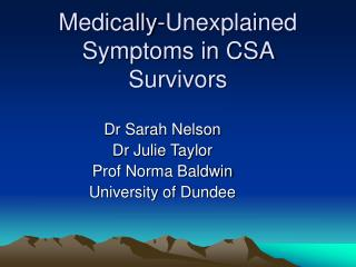 Medically-Unexplained Symptoms in CSA Survivors