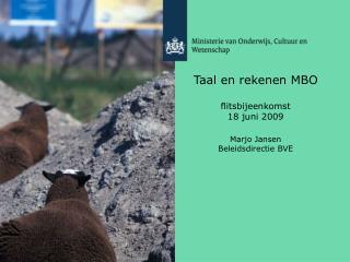 Taal en rekenen MBO flitsbijeenkomst  18 juni 2009 Marjo Jansen Beleidsdirectie BVE