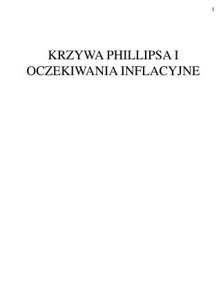 KRZYWA PHILLIPSA I OCZEKIWANIA INFLACYJNE
