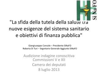 Audizione indagine conoscitiva Commissioni V e XII   Camera dei deputati 8 luglio 2013