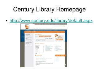 Century Library Homepage