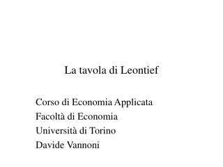 La tavola di Leontief