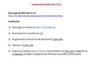 Instalación del BVS Site 5.3.2