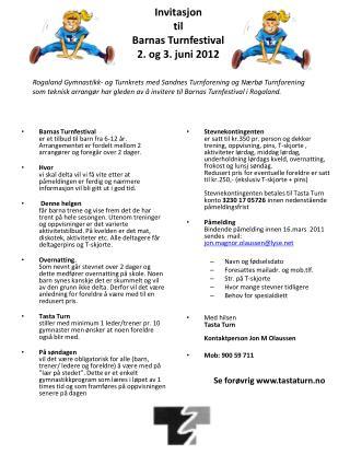 Invitasjon  til Barnas Turnfestival  2. og 3. juni 2012