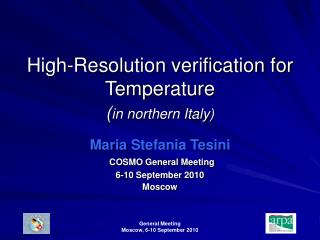 High-Resolution verification for Temperature  ( in northern Italy)