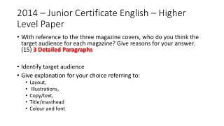 2014 – Junior Certificate English – Higher Level Paper