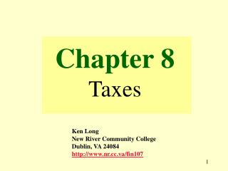 Chapter 8 Taxes