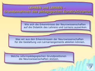 LEHREN und LERNEN –  Grundannahmen des pädagogischen Konstruktivismus