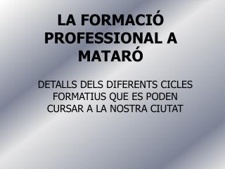 LA FORMACIÓ PROFESSIONAL A MATARÓ