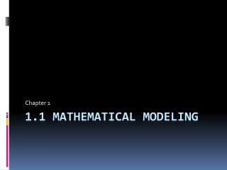1.1 Mathematical Modeling