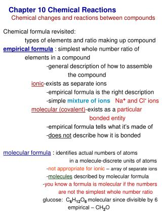 Chapter 10 Chemical Reactions