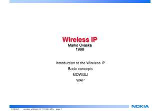 Wireless IP Marko Ovaska 1998