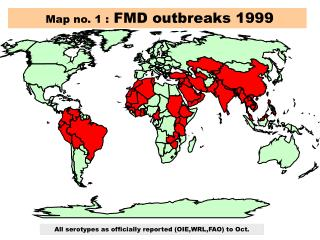 Map no. 1 :  FMD outbreaks 1999