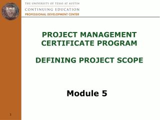 Project Management  Certificate Program  defining project scope