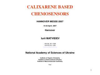 CALIXARENE BASED CHEMOSENSORS