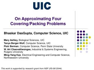 On Approximating Four Covering/Packing Problems