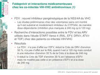 Faldaprévir  et interactions médicamenteuses chez les  co -infectés  VIH-VHC antirétroviraux  (1)