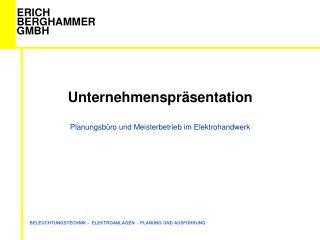 Unternehmenspräsentation Planungsbüro und Meisterbetrieb im Elektrohandwerk