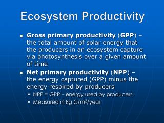 Ecosystem Productivity