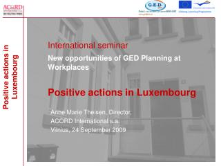 International seminar New opportunities of GED Planning at Workplaces