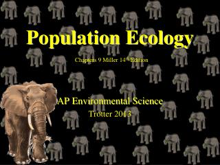Population Ecology Chapters 9 Miller 14 th  Edition