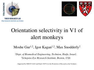Orientation selectivity in V1 of alert monkeys