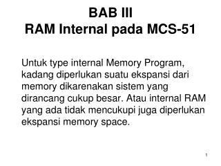 BAB III RAM Internal pada MCS-51