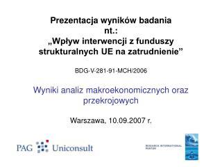 """Badanie  """"Wpływ interwencji z funduszy strukturalnych UE na zatrudnienie"""""""