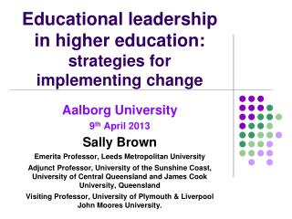 Educational leadership in higher education:  strategies for implementing change