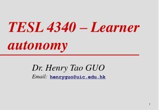 TESL 4340 � Learner autonomy