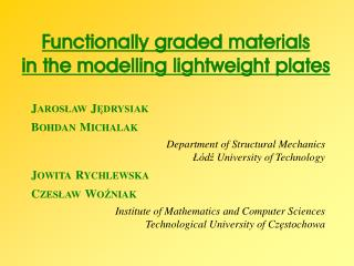 Functionally graded materials in the modelling lightweight  plates