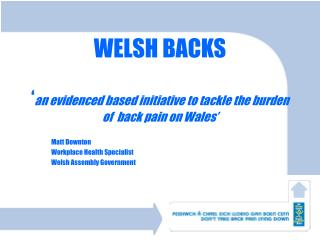 WELSH BACKS ' an evidenced based initiative to tackle the burden of  back pain on Wales'