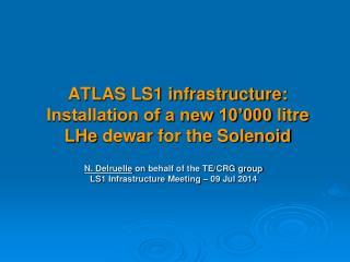 ATLAS LS1 infrastructure: Installation of a new 10'000  litre LHe dewar  for the Solenoid
