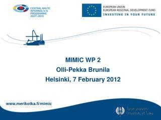 MIMIC WP 2 Olli-Pekka Brunila Helsinki, 7  February  2012