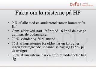 Fakta om kursisterne på HF