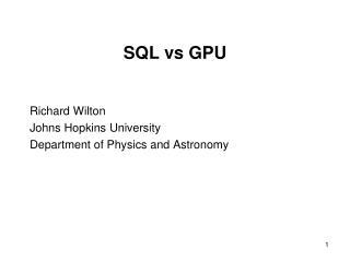 SQL vs GPU